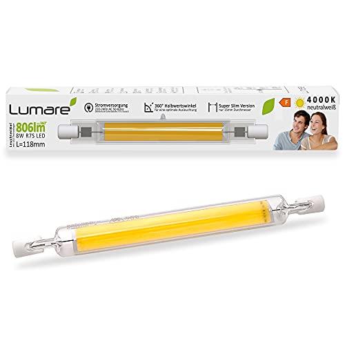 Lumare R7s LED 8W 118mm 806lm 230V Leuchtmittel Halogen Flutlicht Fassung ersetzt 80W 360 Grad Baustrahler Lampe Ersatz Halogenstab 4000K neutralweiß