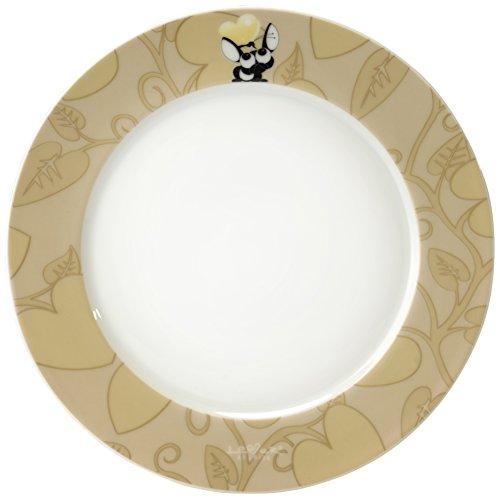 Berghoff 3800013 4 X Assiette Ronde, Porcelaine, Jaune, 21,5 x 23 x 7,5 cm