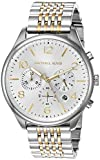 Michael Kors Men's Merrick Quartz Watch with Stainless-Steel-Plated Strap, Silver/Two Tone, 20