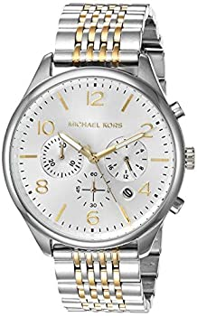 Michael Kors Men s Merrick Quartz Watch with Stainless-Steel-Plated Strap Silver/Two Tone 20