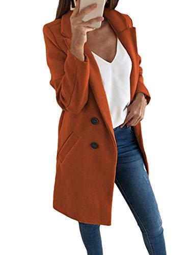 Onsoyours Damen Blazer Winter Mantel Elegant Warm Wintermantel Steppmantel Knopf Klassische Vintage Zweireihig Revers Schlack Slim Fit Trenchcoat mit Taschen Kaffee 38