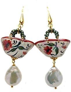 Orecchini donna Coffa papaveri con perle scaramazze. Gioielli in Ceramica Artigianali dipinti a mano, made in italy