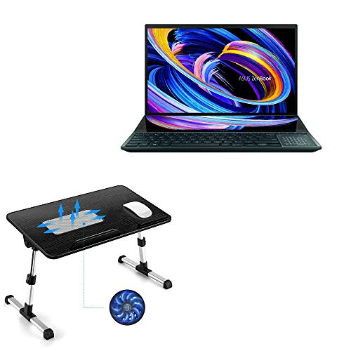 Suporte e suporte BoxWave para ASUS ZenBook Pro Duo 15 (UX582) [Suporte de bandeja para laptop de madeira verdadeira] Mesa para trabalho confortável na cama. Para ASUS ZenBook Pro Duo 15 (UX582) - Preto