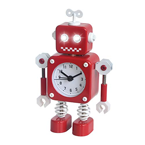 Diskary Reloj Despertador en Forma de Robot de Acero Inoxidable, Silencioso, con Ojos Que se Iluminan y Brazos Giratorios, un Regalo Ideal para Niños y Niñas (Rojo)
