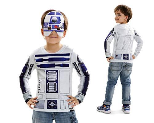 Disfraz Camiseta de Star Wars R2d2 originalde Carnaval para niño 8-10 años de Microfibra - LOLAhome
