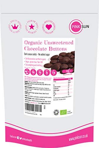 PINK SUN Chocolate sin Azúcar Orgánico 500g (o 1 kg) 100% Masa de Cacao Para Cocinar Sólidos Puro Bio en Forma de Botón Pasta de Perú Organic Unsweetened Chocolate Buttons