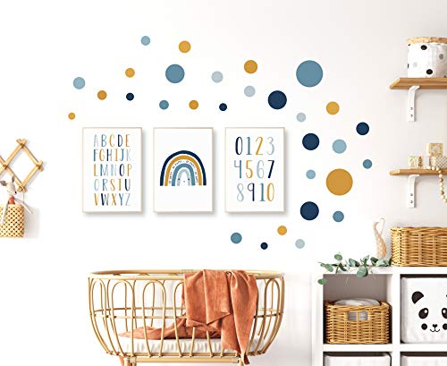 Pandawal Kinderzimmer Deko Bilder 3er Poster Set und 40 Wandaufkleber Kreise/Punkte Babyzimmer Wandtattoo Senf Blau Grau Baby (R15K)