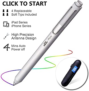 Stylus Pen for Apple iPad, KSW KINGDO iPens Capacitive Rechargeable Pen 2mm Replaceable Fine Point Rubber Tips for All Apple iPad/iPhone/iPad Pro/iPhone X with 4 Replaceable Fine Point Rubber Tips