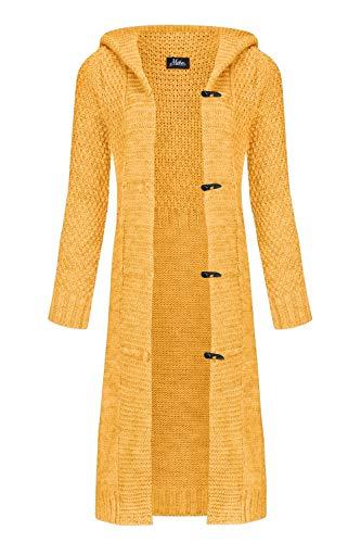 Mikos* Damen Cardigan Mantel Herbst Wolle Strickjacke mit Kapuze Long Lang Pulli Pullover Herbs Winter Beige Grau Schwarz S M L XL 36 38 40 42 (988) (Curry, M)