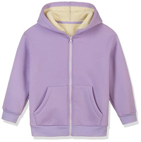 Kid Naion Kids Unisex Faux Sherpa Hooded Sweatshirt Cozy Zip Up Hoodie for Boys and Girls Purple L