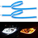 LivTee Flexible Waterproof 2Pcs 24'' Switchback Led Light Strip Kit Dual Color Replacement for Headlight Decorative Daytime Running Lights and Flowing Turn Signal Lights, Amber/White