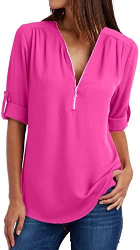 OLIPHEE Mujer Blusas y Camisa Cuello V Camisetas Cremallera Sueltas Camisas de...