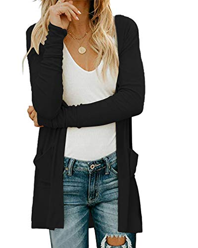 Damen Shirt Langarm V-Ausschnitt Basic Oberteile Button Casual Pullover Einfarbig Langarmshirt, A-schwarz, XXL
