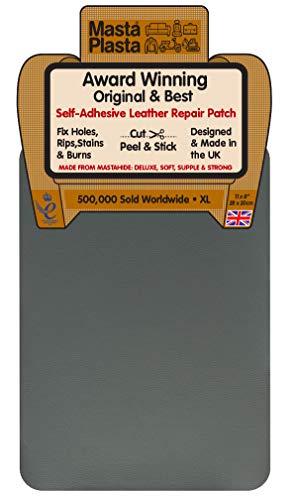 MastaPlasta Self-Adhesive Instant Leather & Vinyl Repair Patch, XL - 8 x 11 Inch. Gray