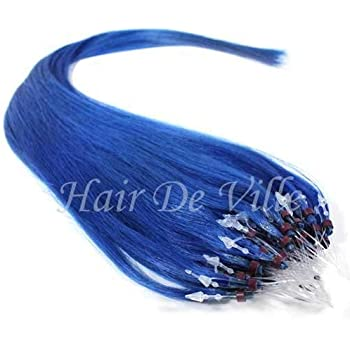 "25 Strands 22"" Long Micro Loop Ring Beads I Tip Indian Remy Human Hair Extensions #1 Jet Black Color 0.8g Each (# Blue)"