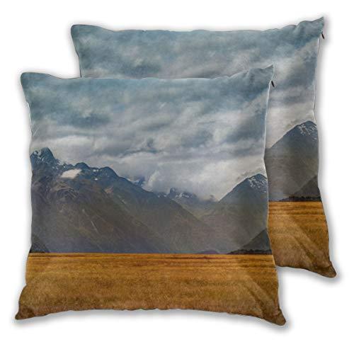 Lot de 2 housses de coussin en velours massif pour canapé banc, 45 cm - Alpes méridionales de Zélande Island Milford Retina, Velours., 1 couleur, 18\