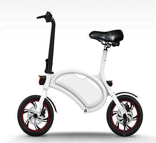 LaKoos Bicicleta Eléctrica Bicicleta Eléctrica Plegable De 36V con Batería De Litio 6.0Ah, Velocidad Máxima De La Bicicleta Urbana De 25 Km/H, Freno De Disco Mecánico, Pesa Solo 12 kg-Blanco