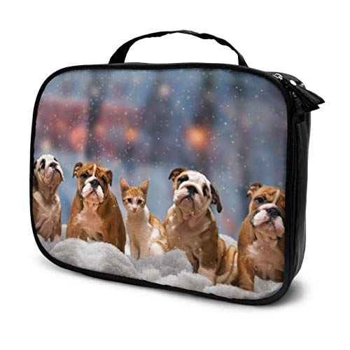 Four Red Dog Breed English Bulldog Travel Medium Cosmetic Bag Man Toiletry Bag Beauty Makeup Bag Multifunction Printed Pouch for Women