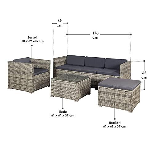 ArtLife Polyrattan Lounge Punta Cana L grau-meliert – Gartenlounge für 4-5 Personen – Gartenmöbel-Set mit Sessel, Sofa, Tisch, Hocker – Bezüge Dunkelgrau - 2