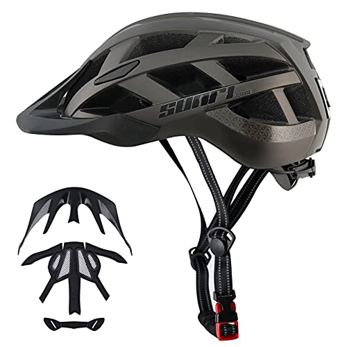 Adult Bike Helmet Men Womens- Bicycle Helmet Light with USB Rechargeable, SUNRIMOON Road Bike Helmet with Removable Visor for Street Cycling Commuter Mountain Lightweight Titanium