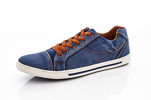 Franco Vanucci Mens Low Rise Lace Up Faded Denim Fashion Sneakers Blue Size 7.5