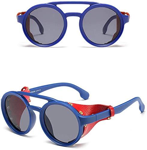 XGBDTJ- Gafas De Sol De Cuero De Vida de Moda Las Mujeres Retro Sombras Manera De Los Hombres Con Gafas De Sol Redondas De Estilo Protectores Laterales (Color : Azul, Size : Size)