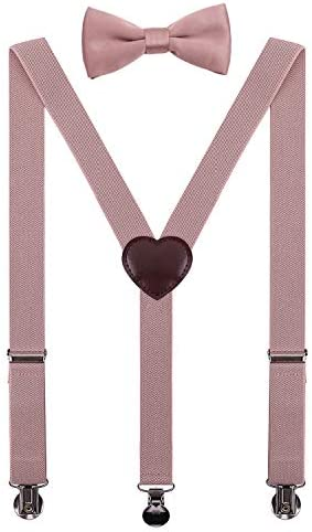 PZLE Kids Suspenders and Bow Tie Set Adjustable 40 Inches Blush Pink product image