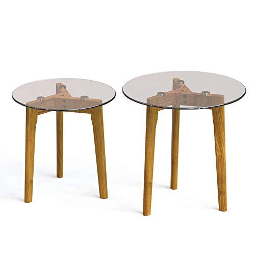 Estleys Juego de 2 mesas redondas de café, mesa auxiliar para sofá con parte superior de cristal templado y patas de madera, decoración moderna para muebles, mesa de té para oficina en casa
