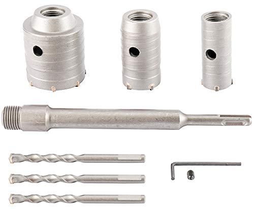 Concrete Hole Saw Kits, Tungsten Steel SDS Plus Shank Wall Hole Cutter Cement Stone Drill Bit Sets 1-2/11, 1-3/5, 2-4/5 Inch(30, 40, 60mm), with 8-7/10 Inch(220mm) Connecting Rod, 3 Center Drill Bits
