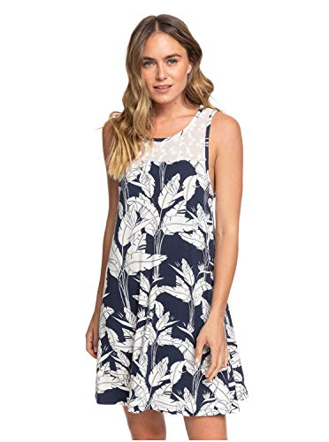 Roxy What Lovers Do-Robe sans Manches pour Femme, Mood Indigo Flying Flowers, FR : S (Taille Fabricant : S)