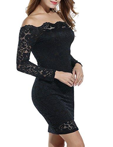 ACEVOG Damen Kleid mit floraler Spitze langärmeliges Schulterfreies Kleid Bleistiftkleid Jumper...