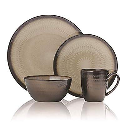 Gourmet Basics by Mikasa 5239014 Anastasia Cream 16-Piece Dinnerware Set, Assorted