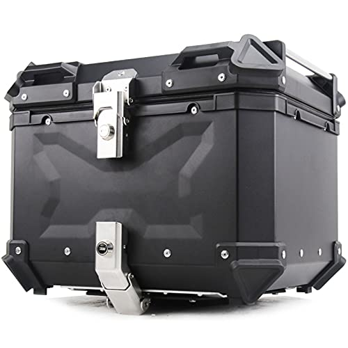 OUUUKL Baúl Universal para Motocicleta Paquete de Viaje para Motocicleta de 45 L Caja Trasera para Equipaje Impermeable y Anticolisión Caja Superior de Aleación de Aluminio Caja de Almacenamiento