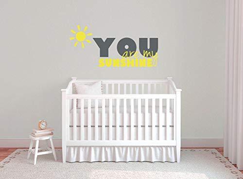Tiukiu You are My Sunshine Wall Decal, Nursery Wall Decals, Sunshine Wall Art, Nursery Wall Sayings, Sunshine Wall Sticker, Above Crib Decor 32 inch in Width