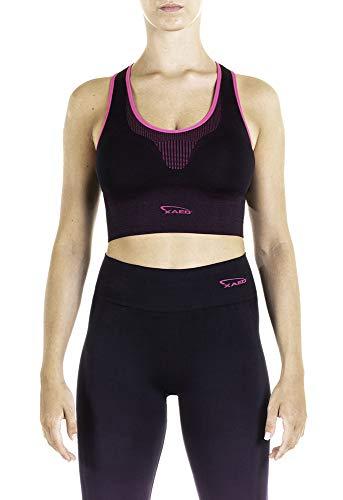 XAED, reggiseno sportivo da donna, colore nero/fucsia, taglia S