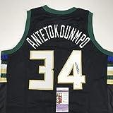 Autographed/Signed Giannis Antetokounmpo Milwaukee Black Custom Basketball Jersey JSA COA