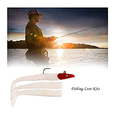 3D High Simulation Fish Bass Fishing Lure Fish Lures Bait Fishing Lure Kits with Lead Head Fish T-Tailed Tuna Bait Fishing Supplies (White)