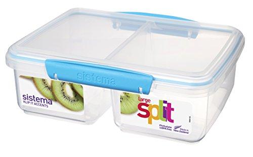 Sistema Boîte de conservation alimentaire à compartiments en polypropylène avec clips et joints hermétiques Plastique transparent Vert citron/turquoise/violet/blanc 2 l (Couleurs assorties)