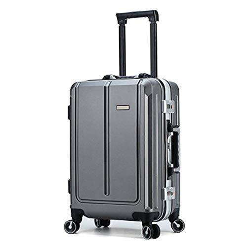 NgMik Telescopic suitcase Large Size Travel Suitcase Retro Aluminum Frame Universal Wheel Suitcase Password Board Case Trolley Case 20/24 inch Lightweight suitcase (Color : Dark gray, Size : 20inch)