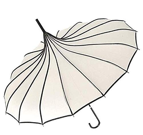 Pagoda Peak Old-Fashionable Ingenuity Umbrella Parasol (Ivory white)