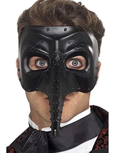 shoperama Venezianische Schnabel-Maske Zanni Capitano schwarz Pestmaske Venedig Maskenball Commedia dell'arte Accessoire