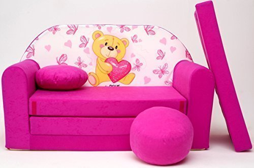 Pro Cosmo H3 - Sofá Cama para niñoscon puf, reposapiés y cojín, de Tela, Multicolor (168x 98x 60cm)