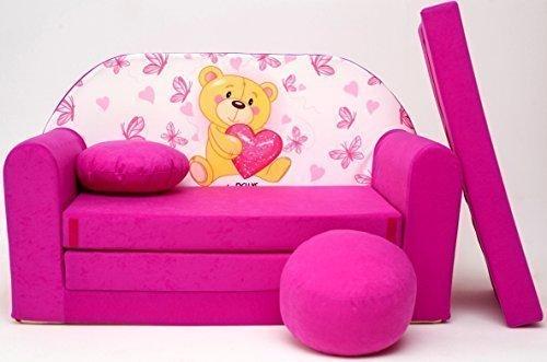 Pro Cosmo H3 Kinder-Schlafsofa mit Sitzkissen, Stoff, Rosa, 168 x 98 x 60 cm, Baumwolle, Rose