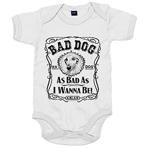Body bebé frase perro raza Galgo Bad dog as bad as I wanna be - Blanco, Talla única 12 meses