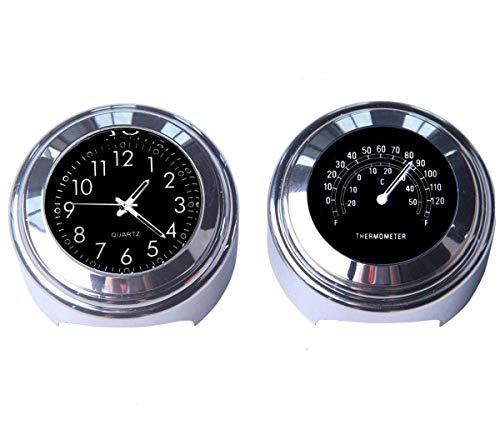 Riloer 2pcs 7/8 pouces horloge de guidon de moto et thermomètre horloge numérique étanche universelle (noir)