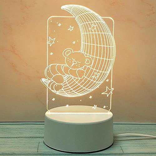 Tatapai Luces de noche 3D creativas estéreo, lámpara de mesa de amor, padres, enchufe, DIY dibujos animados-Plug de tres colores Light_Moon Bear