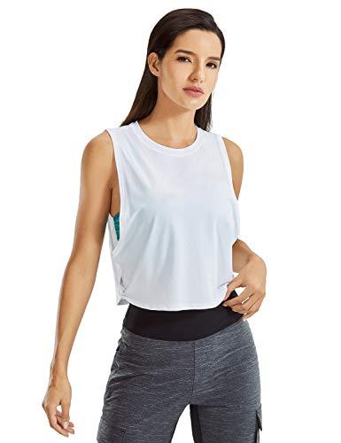 CRZ YOGA Women's Pima Cotton Workout Tank Crop Sports Shirt Sleeveless Yoga Running Tops White Small