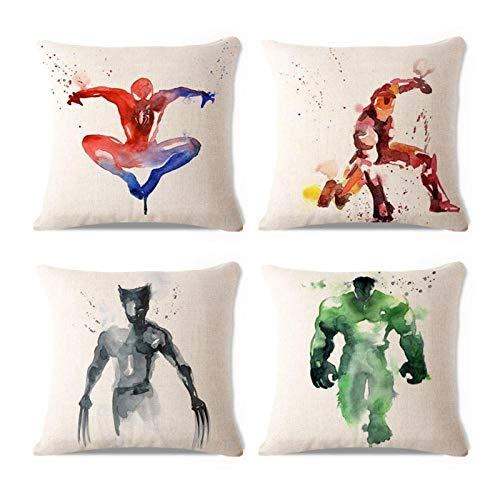 ZHAOCC Funda de cojín Conjunto de 4 Juegos de Funda de Almohada de Lino Pintura de Acuarela Juego de Cojines Decorativos de superhéroe Batman Superman Wolverine Spiderman Funda de Almohada 45X45 cm