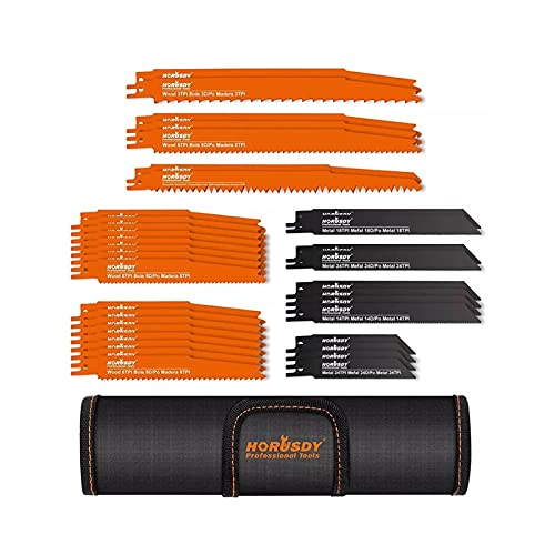 NEW MEI 34 unids conjunto de cuchillas de sierra recíproco adaptado para la poda de corte de madera de metal con la bolsa Organizador Herramientas eléctricas Accesorios Accesorios Sierra cuchillas