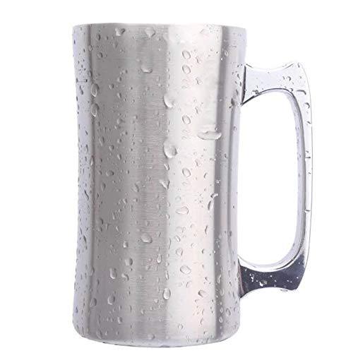 Taza de Cerveza de Acero Inoxidable con Tapa, Taza de Termo, Taza de Cerveza Bebida Taza de café Taza de café Taza Creativa,550ml